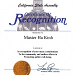 美國加州立法局獎狀
