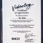 美國加州KCET電視台獎狀